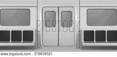 Subway Wagon Interior Inside View With Door, Seats And Windows. Empty Metro, Underground Tube Design