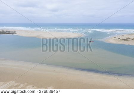 Aerial View Of A Sand Dredger Boat At The Mouth Of The Murray River In South Australia