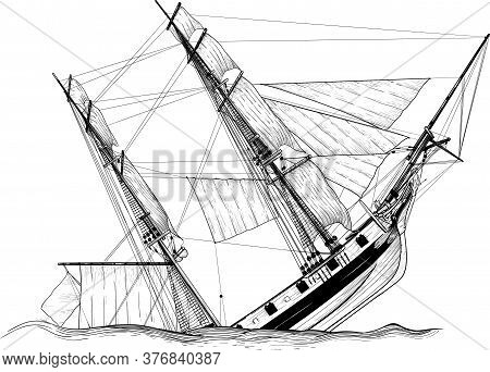 Submersible Pirate Sailing Ship Shipwrecked Isolated On White Background
