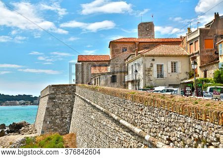 Antibes, France - June 16, 2014: Picturesque Mediterranean Seafront