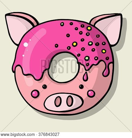Glazed Cute Doughnut Animal. Isolated Donuts With Glaze And Bite, Eaten Chocolate Icing Fritters Or