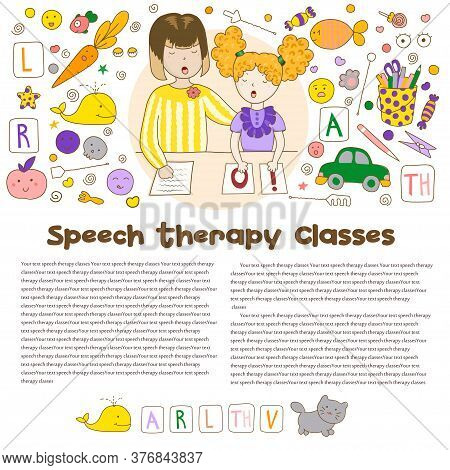 Concept Article Speech Therapy. Cute Childrens Drawings Icons In Kavai Style On The Topic Of Speech