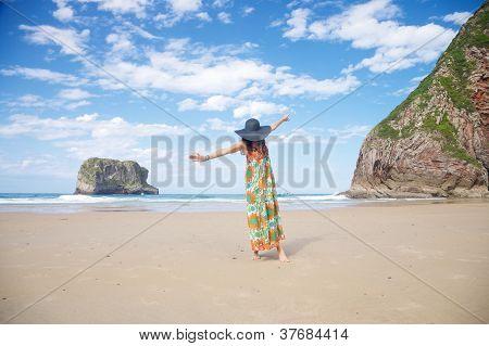 Open Arms Woman In Ballota Beach