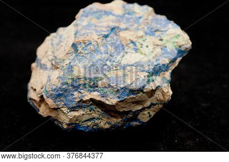 Vibrant Blue Azurite And Green Malachite Mineral Sample On A Black Background