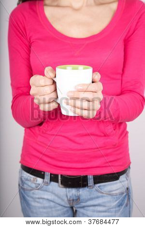 Two Hands Woman With Tea Cup