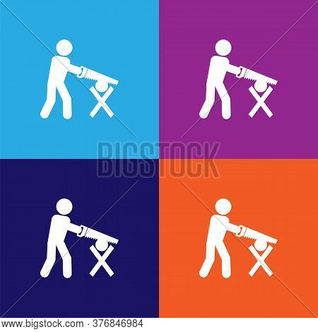 Workmanship With A Saw Premium Quality Icon. Elements Of Constraction Icon. Signs And Symbols Collec