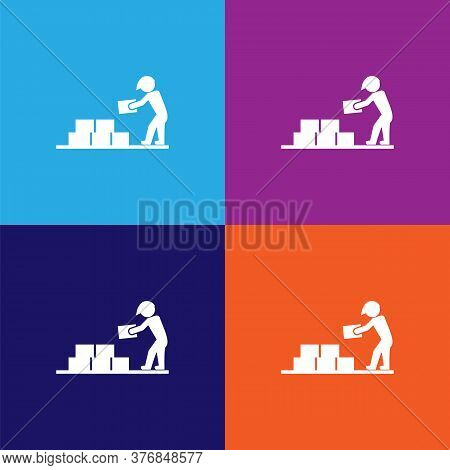 Builder With Building Materials Premium Quality Icon. Elements Of Constraction Icon. Signs And Symbo
