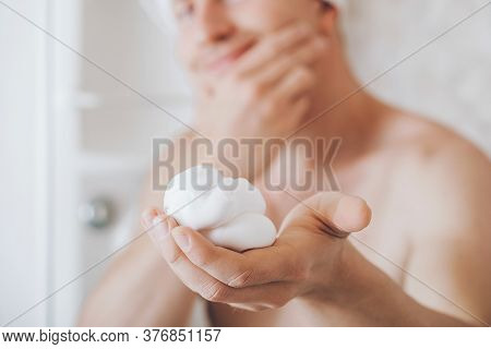 A Beautiful Portrait Of Man Before To Shave Using Shaving Foam For Better Perfect Shave And Protect