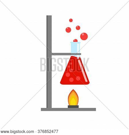 Laboratory Equipment, Jars, Beakers, Flasks, Spirit Lamp. Chemical Reaction. Biology Science Educati