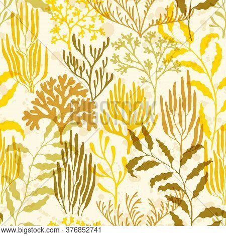 Ocean Corals Seamless Pattern. Kelp Laminaria Seaweed Algae Background. Aquatic Plants Repeating Vec