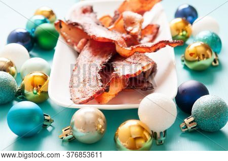 Crisp Bacon Strips With Christmas Decorations, Holiday Bacon, The Best Gift