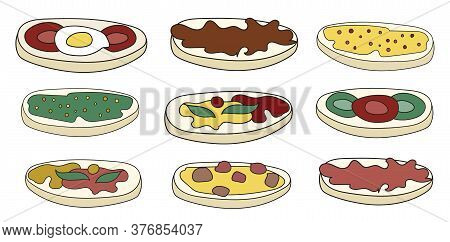 Doodle Cartoon Hipster Style Vector Illustration. A Set Of Bruschetta Tapas Canape Appetizers With V