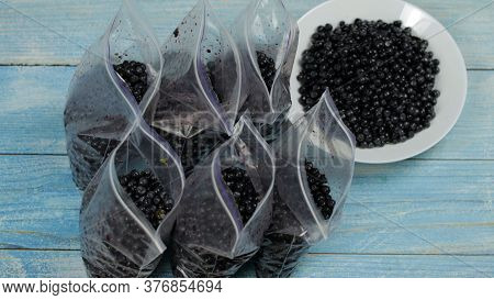 Close Up Shot Of Packing Berries In Zipper Plastic Bags For Freezing. Frosting, Icing, Freeze Of Blu
