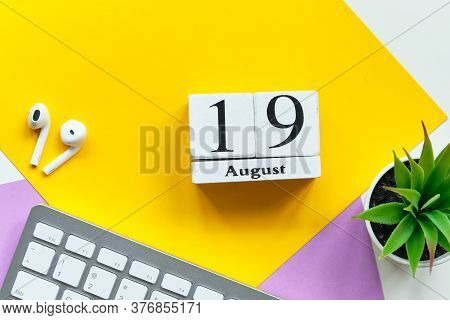 19th August - Nineteenth Day Month Calendar Concept On Wooden Blocks