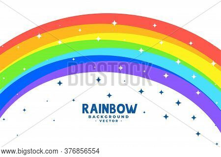 Curve Rainbow Arc With Stars Background Vector Design Illustration