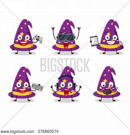 Wizard Hat Cartoon Character Are Playing Games With Various Cute Emoticons