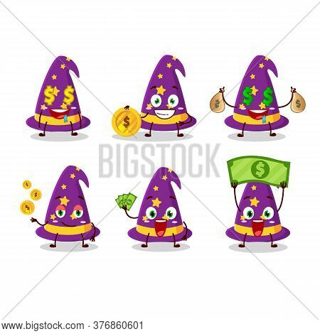 Wizard Hat Cartoon Character With Cute Emoticon Bring Money