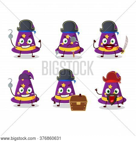 Cartoon Character Of Wizard Hat With Various Pirates Emoticons