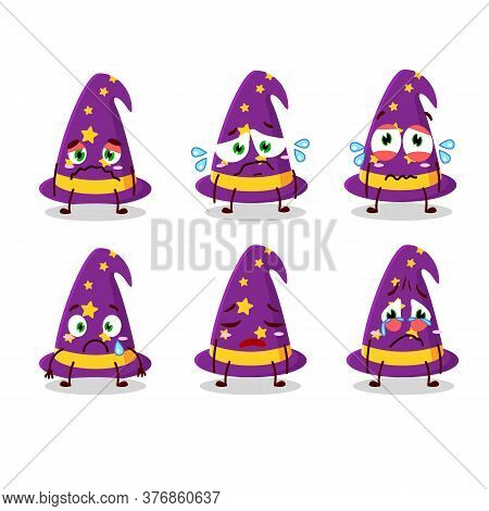 Wizard Hat Cartoon Character With Sad Expression