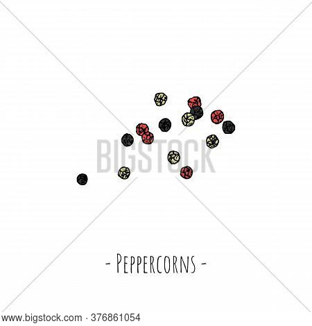 Peppercorns. Vector Cartoon Illustration. Isolated Object On A White Background.