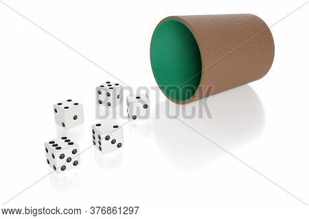 Dice And Dice Cup Isolated On White Background. 3d Illustration.
