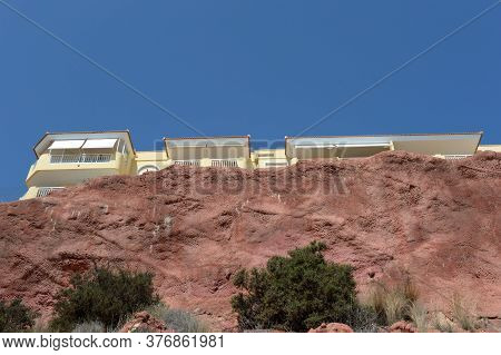 Orihuela, Costa Blanca, Spain - September 21, 2018:building On The Steep Coastline Of The Costa Blan