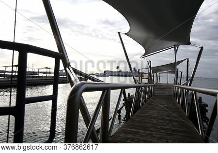 Salvador, Bahia / Brazil - September 4, 2017: View Of The Pier At The Maritime Terminal In The City
