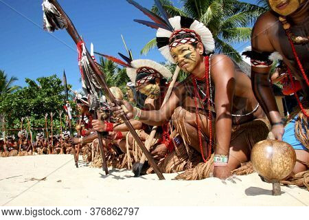 Santa Cruz Cabralia, Bahia / Brazil - April 10, 2009: Pataxó Indians Are Seen During Indigenous Game