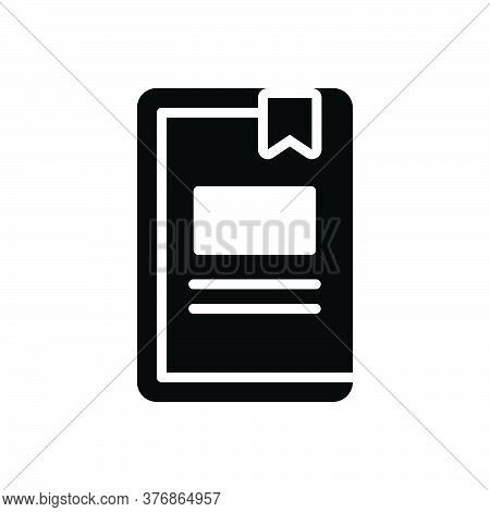 Black Solid Icon For Work-book Publication Page Education Tutorial Knowledge Textbook