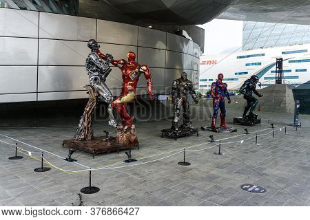 Busan,south Korea - July 20, 2017: The Model Of Marvel's Characters At The Busan Cinema Center Locat