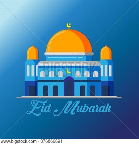 Vector Illustration,banner Or Poster Of Islamic Holiday Eid Al Adha Mubarak. Islamic Holiday Eid Al