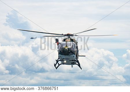 Chonburi, Thailand - July 9, 2020: The Eurocopter Ec 645 T2 Helicopter Of Royal Thai Navy Fly In The