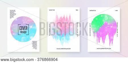 Unicorn Flyer. Kawaii Rainbow Hologram. Princess Holographic Gradient. Fantasy Set. Trendy Universe