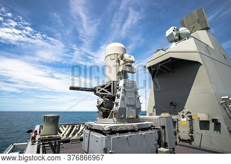 Chonburi, Thailand - July 9, 2020:  Phalanx, The Close-in Weapon System Or Ciws, The Weapon For Air
