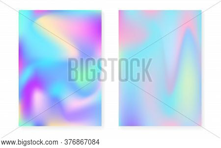 Holographic Gradient Background Set With Hologram Cover. 90s, 80s Retro Style. Iridescent Graphic Te