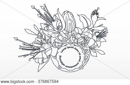 Fuchsia Drawing. Hand Drawn And Sketch Fuchsia Flower. Black And White With Line Art Illustration.
