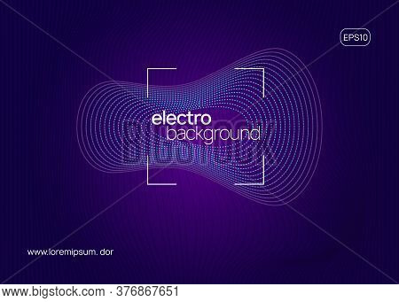 Electronic Event. Dynamic Fluid Shape And Line. Geometric Show Invitation Template. Neon Electronic
