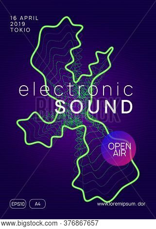 Music Poster. Energy Discotheque Brochure Concept. Dynamic Gradient Shape And Line. Neon Music Poste