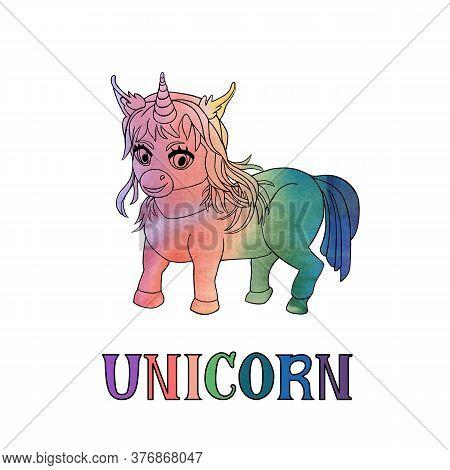 Handdrawn Smiling Unicorn Chibi And Word Unicorn Isolated On The White Background. Vector Illustrati