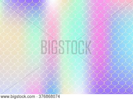 Holographic Scale Background With Gradient Mermaid. Bright Color Transitions. Fish Tail Banner And I