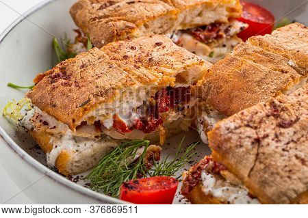 Gourmet Festive Sandwiches With Sundried Tomatoes And Cream