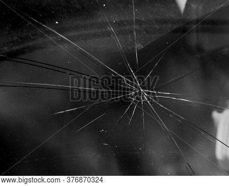 Terrible Dangerous Car After A Fatal Accident. Broken Windshield. A Broken Car With Broken Glass. Сa
