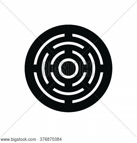 Black Solid Icon For Target Darts  Arrows Darts-board  Goal Focus Objective Viewfinder Aim Challenge