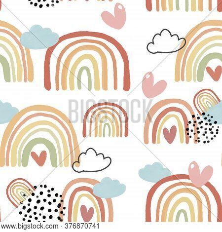 Cute Colorful Rainbow In Autumn Color Palate Pattern Seamless Background, Nursery Illustration, Idea