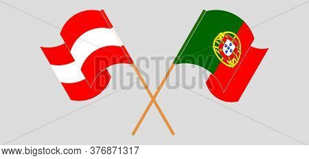 Crossed And Waving Flags Of Austria And Portugal. Vector Illustration