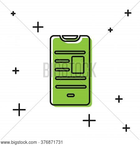 Black Online Book On Mobile Icon Isolated On White Background. Internet Education Concept, E-learnin