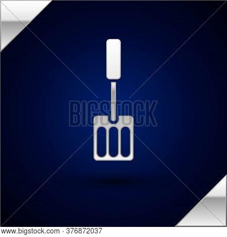 Silver Spatula Icon Isolated On Dark Blue Background. Kitchen Spatula Icon. Bbq Spatula Sign. Barbec