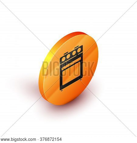 Isometric Oven Icon Isolated On White Background. Stove Gas Oven Sign. Orange Circle Button. Vector