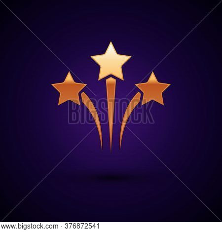 Gold Firework Icon Isolated On Black Background. Concept Of Fun Party. Explosive Pyrotechnic Symbol.