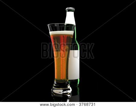 Beer In Glass And Beer Bottle With Blank Label